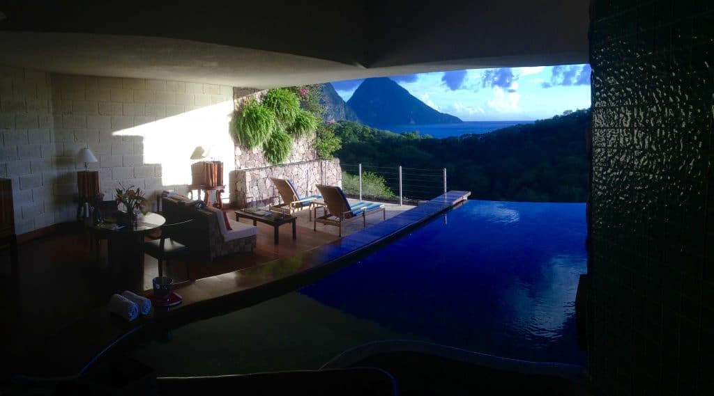 The most luxurious suite at Jade Mountain in St. Lucia for the perfect honeymoon. The suite has only three walls and an infinity pool that overlook the Pitons.