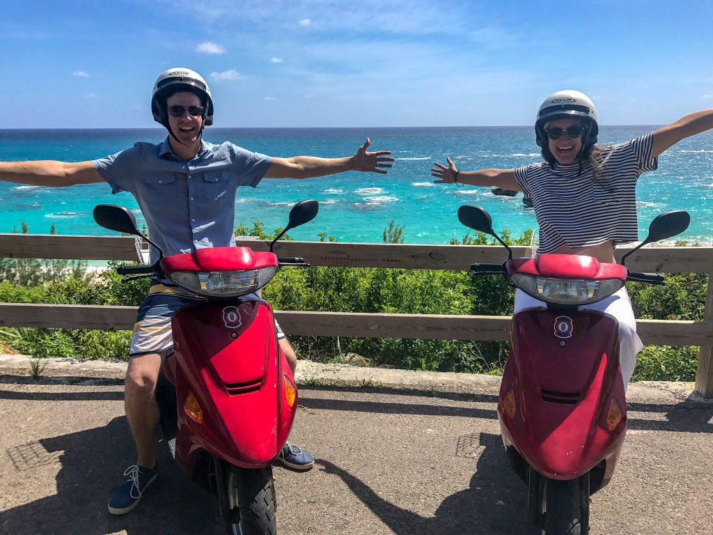 The best way to get around Bermuda is by scooter. IT is also one of the best activities in Bermuda - such a thrilling experience