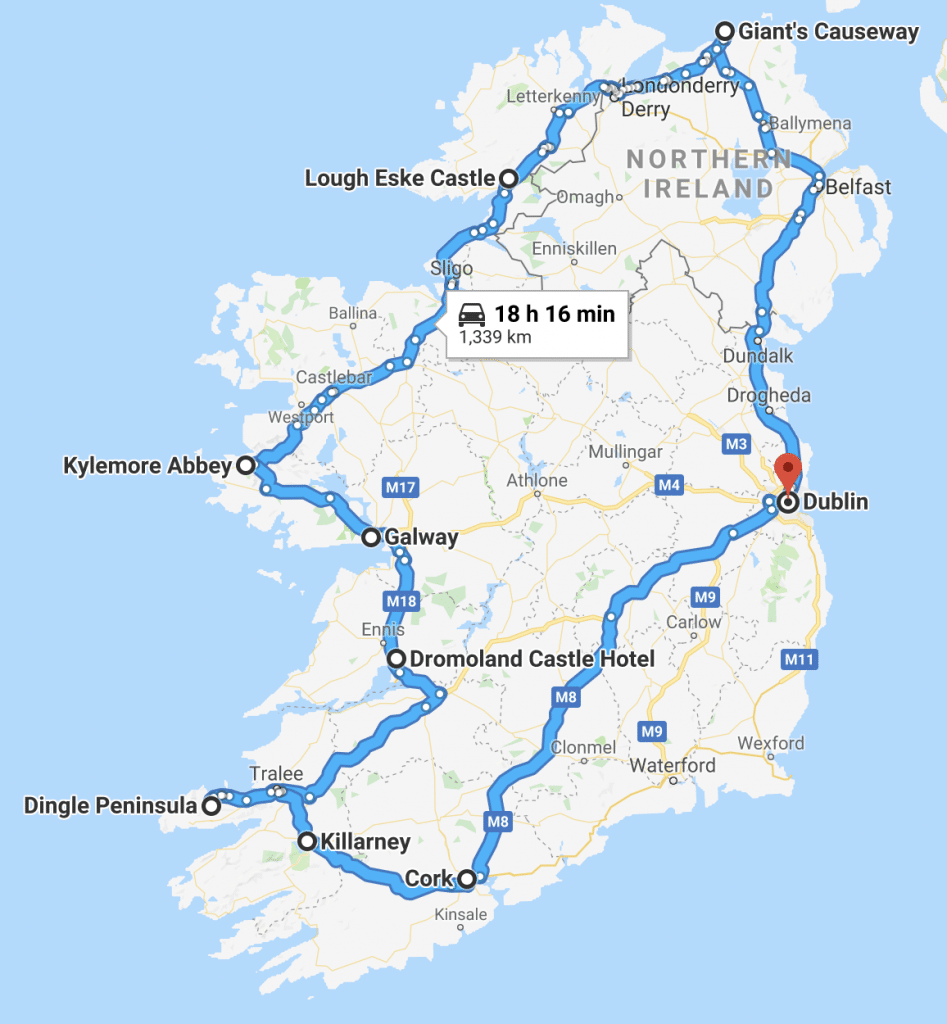 A map of the perfect 7 days in Ireland itinerary. It is a full circle of Emerald Isle to see the Dark Hedges, Giants Causeway, countless castles, Ring of Kerry and more. From Dublin to the Causeway Coast, Donegal, Galway, Limerick, Dingle, Killarney and Cork. This 7 day Ireland itinerary has everything you need to have the perfect trip!