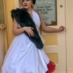 Adults playing dress up at Disneyland by Disneybounding! Adults can wear stylish every day clothes inspired by a Disney character. Here is an example for Disneybounding as Cruella de Vil.
