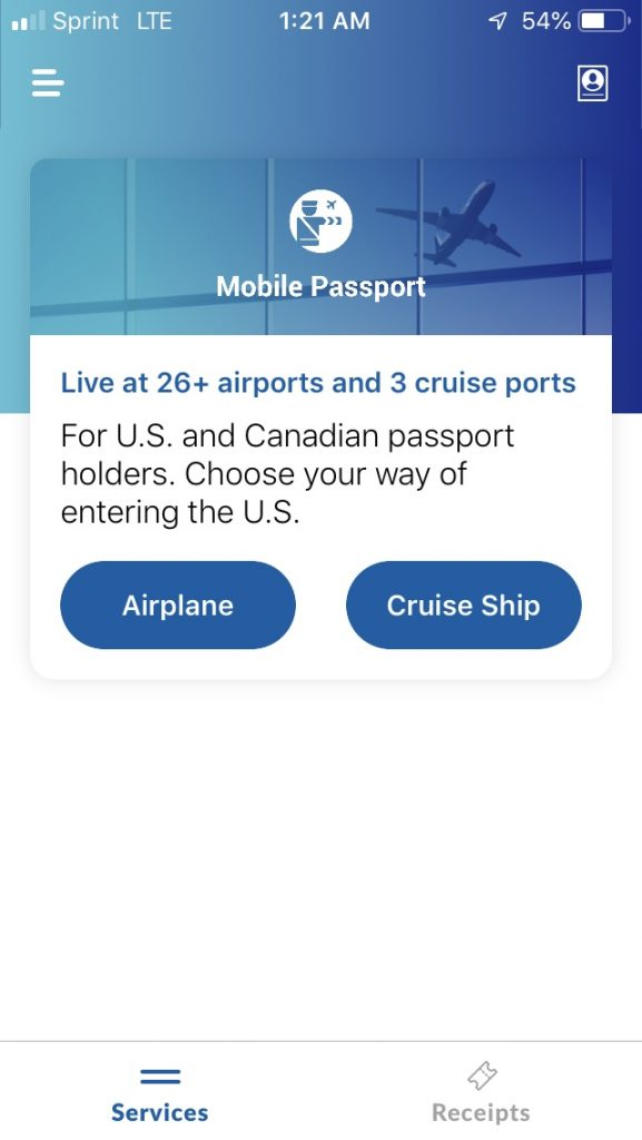 Using Mobile Passport to get through U.S. Customs and Border Control security quicker.