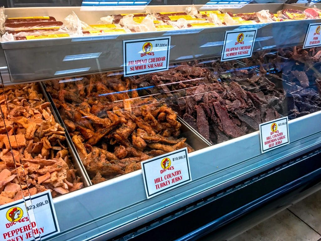 A display case of beef jerky from Buc-ee's  convenient store in Texas.