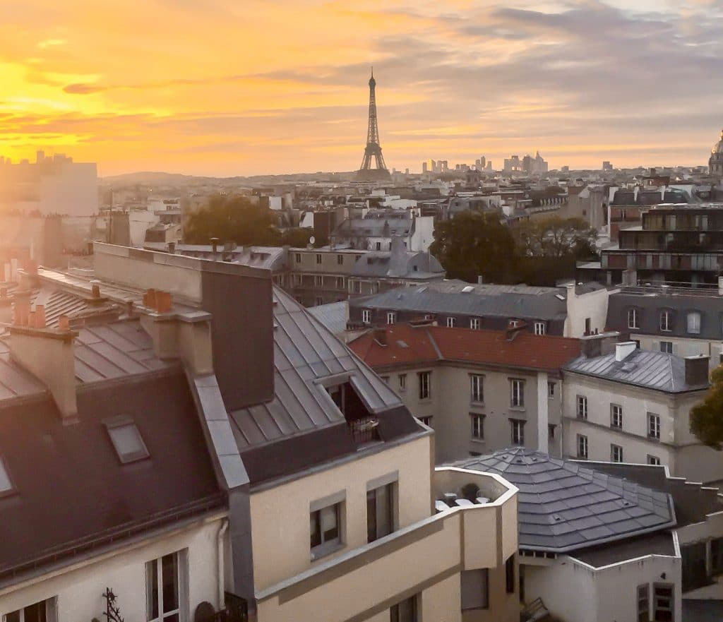 Sunset photo of the Eiffel Tower from the hotel room of Hotel Le Lettre.