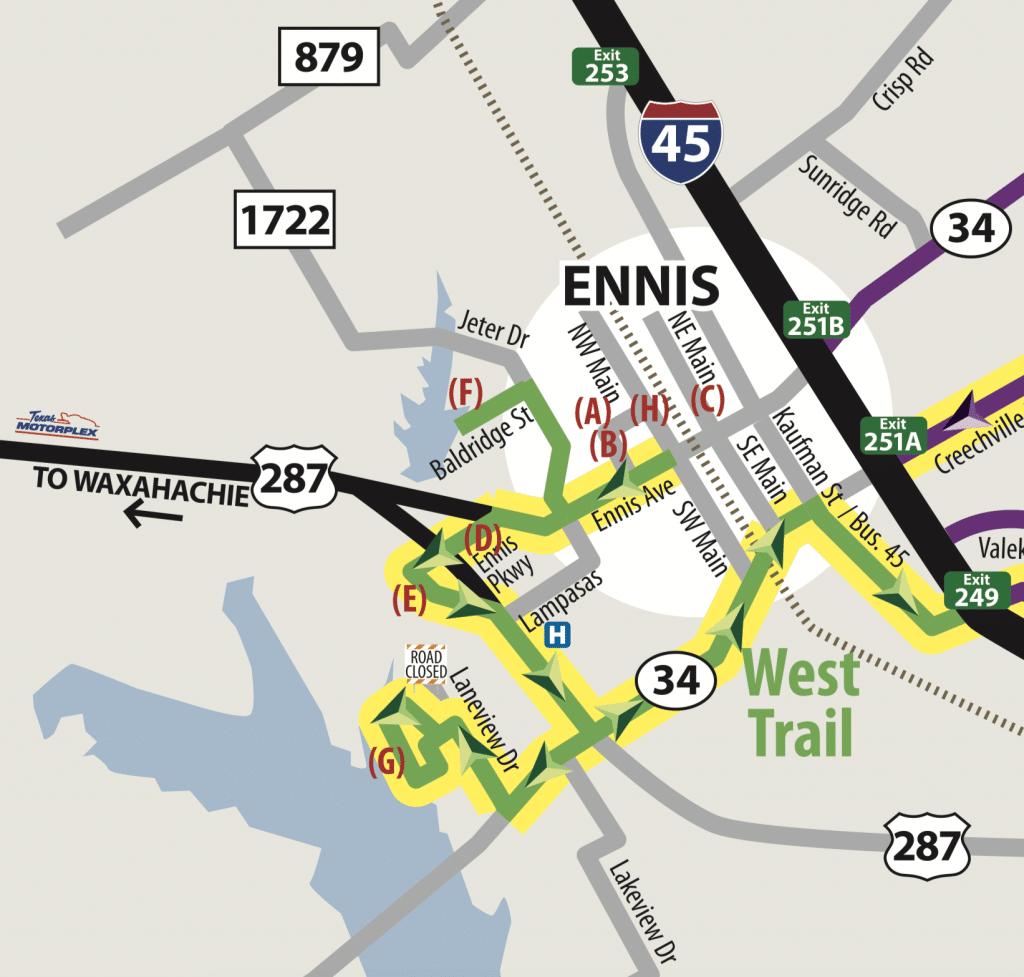 A map of the west trail on the Ennis Bluebonnet Trail.