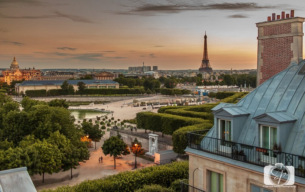 A view of the Eiffel Tower from the hotel, Westin Paris Vendome
