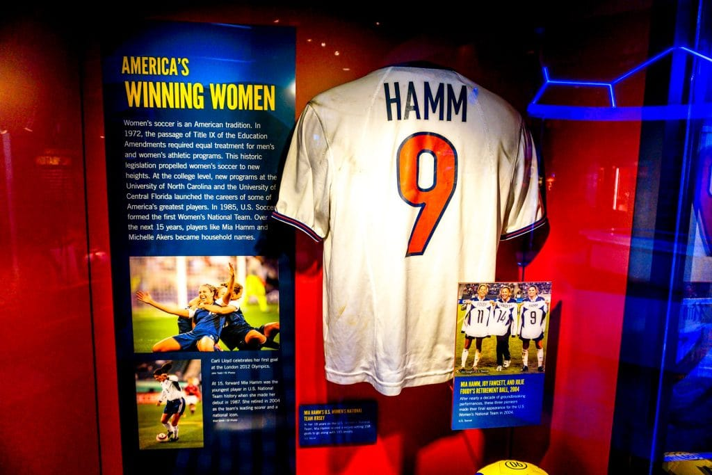 Window display of Mia Hamm's soccer jersey.