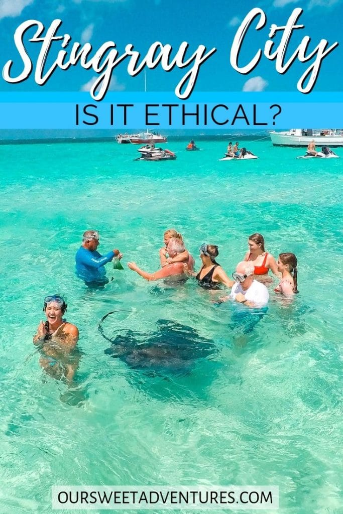 """a group of people standing in shallow water with stingrays swimming nearby. There are also more people and boats in the background. With text overlay """"Stingray City is it ethical?"""""""