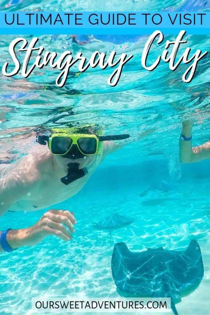 """A man snorkeling over stingrays with text overlay """"Ultimate Guide to visit Stingray City""""."""