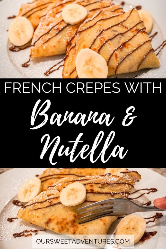 "A collage of two photos with text overlay ""French crepes with Banana & Nutella"". The top photo has crepes layered on top of each other. The bottom photo has a fork cutting into a crepe."
