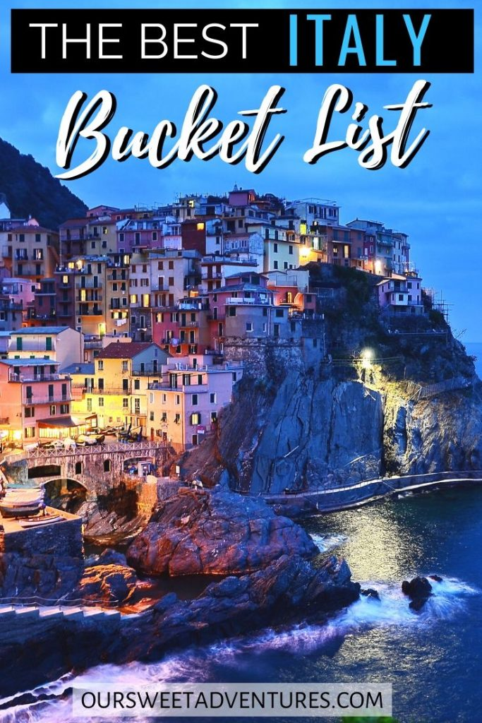 "A nighttime photo of Cinque Terre with text overlay ""The best Italy Bucket List""."