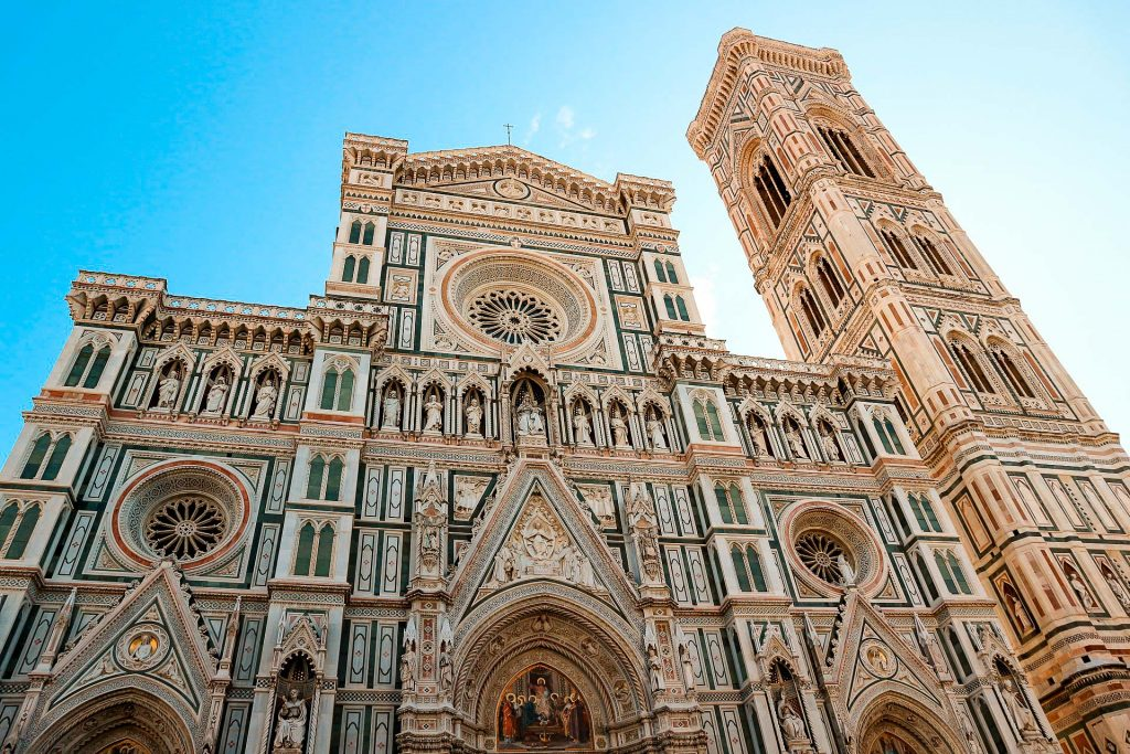 A beautiful photo taken early in the morning gazing up at the Cathedral of Santa Maria del Fiore in Florence.