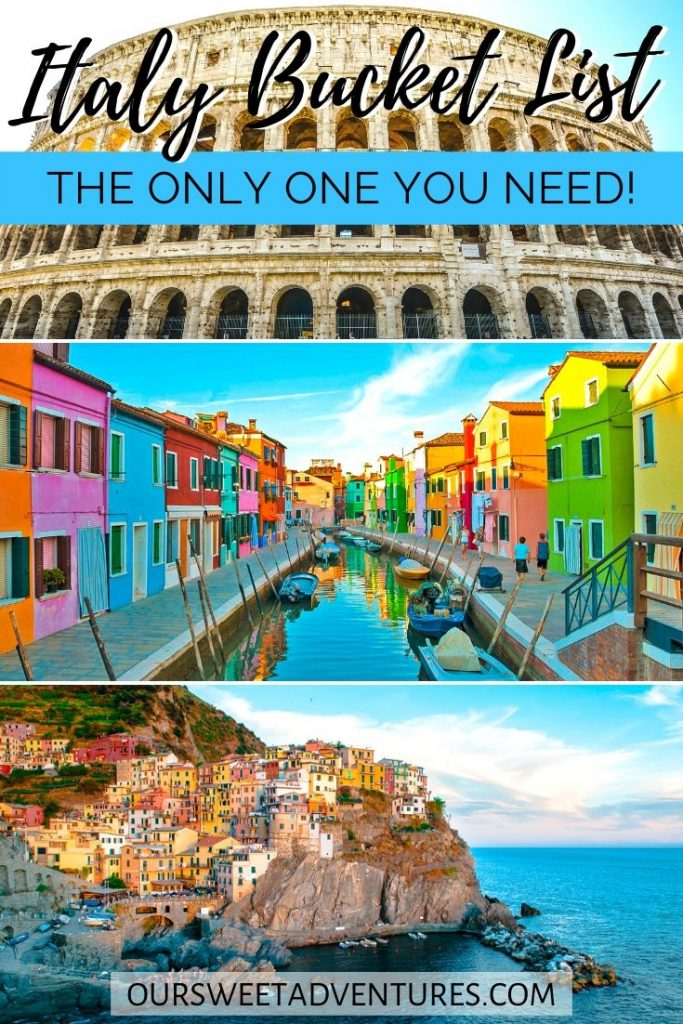 "A collage of three photos. The top photo is the Colosseum. The middle photo is Burano with colorful houses. The bottom photo is Cinque Terre along the coast. Text overlay ""Italy Bucket List the only one you need""."