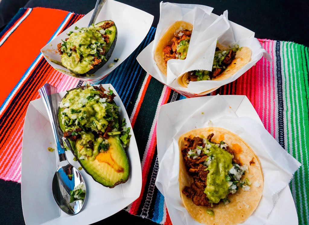 Stuffed avocados and tacos from Fresh Mex in McKinney, Texas.
