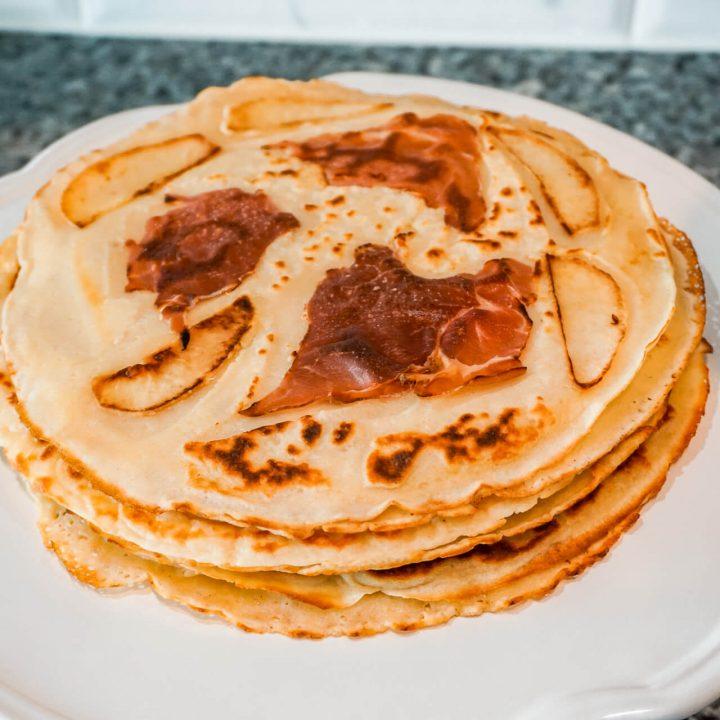 Dutch Pancakes (Pannekoek) with Apple Stroop