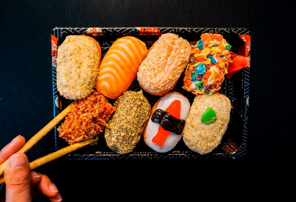 Earnest Donuts creates some of the most Instagrammable desserts in Dallas - these are sushi donuts! The donuts are decorated to look like sushi rolls.