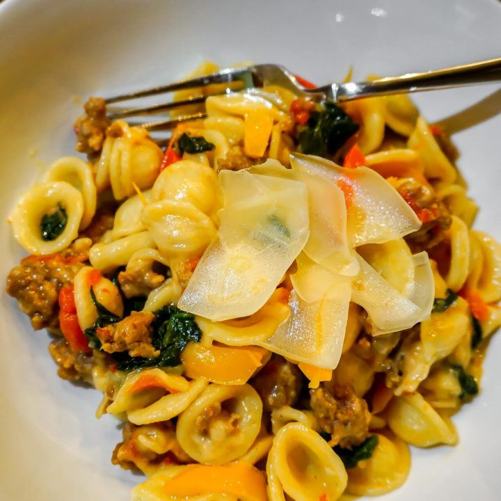 Orecchiette Pasta with Sausage and Bell Peppers