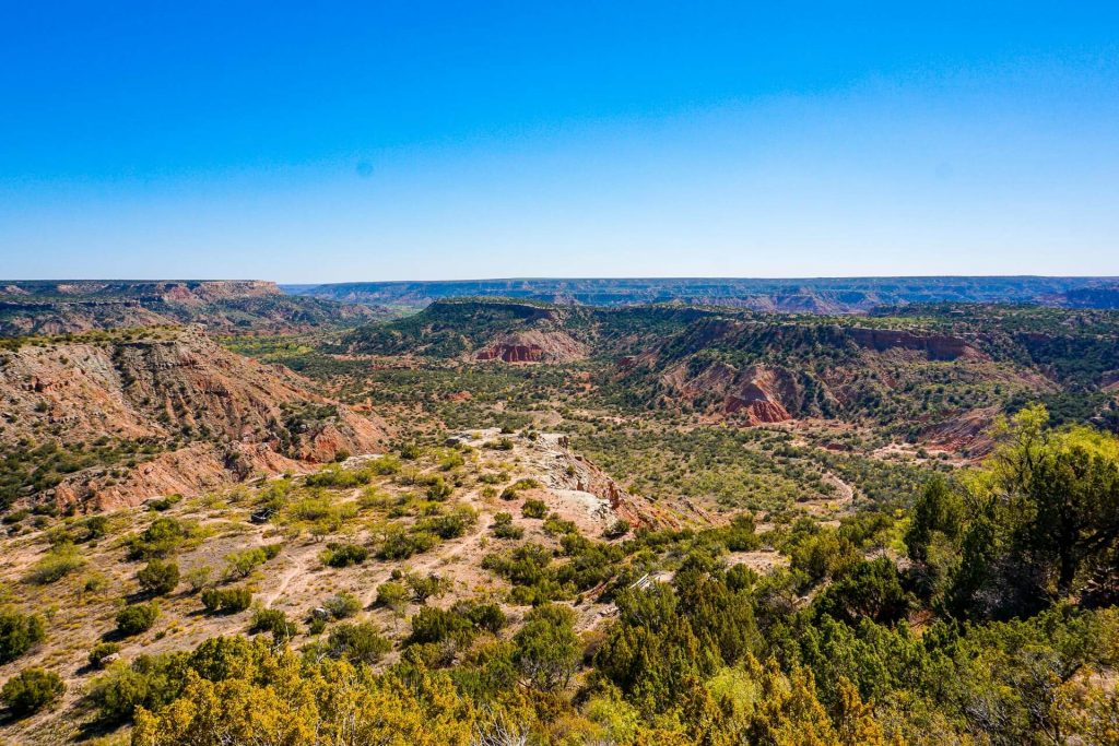 A scenic view or the vast canyons covered in vegetation at CCC Overlook at Palo Duro Canyon State Park.