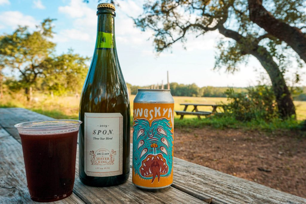 A cup of blueberry beer, bottle of spon beer, and a can of double IPA from Jester King Brewery - one of the best breweries to enjoy during a Texas Hill Country road trip.