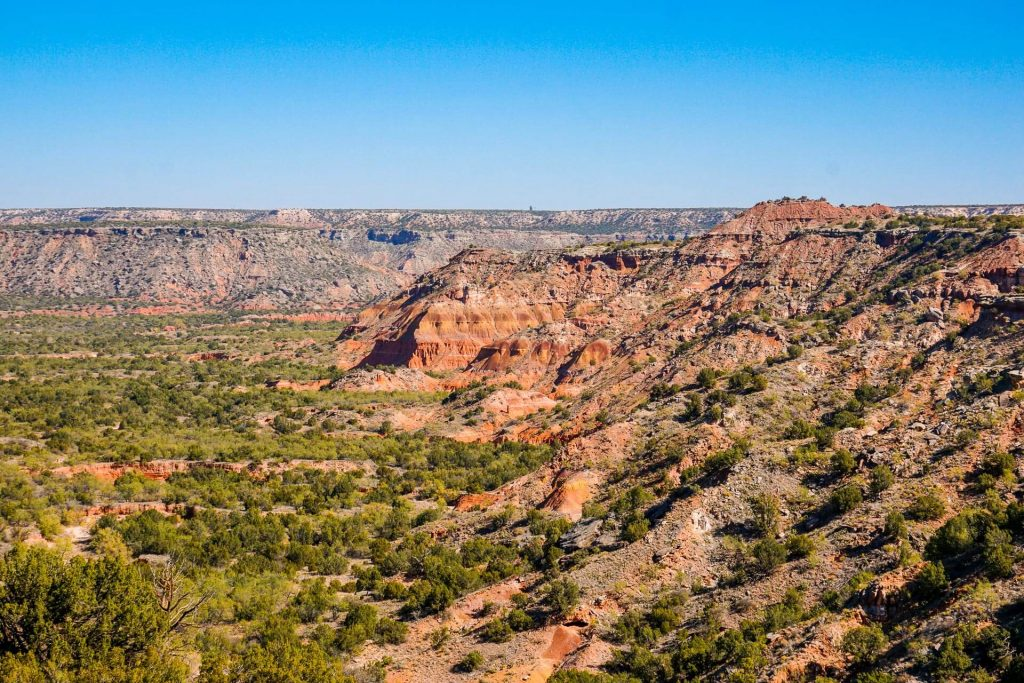 A picturesque view of canyons at Palo Duro Canyon State Park.