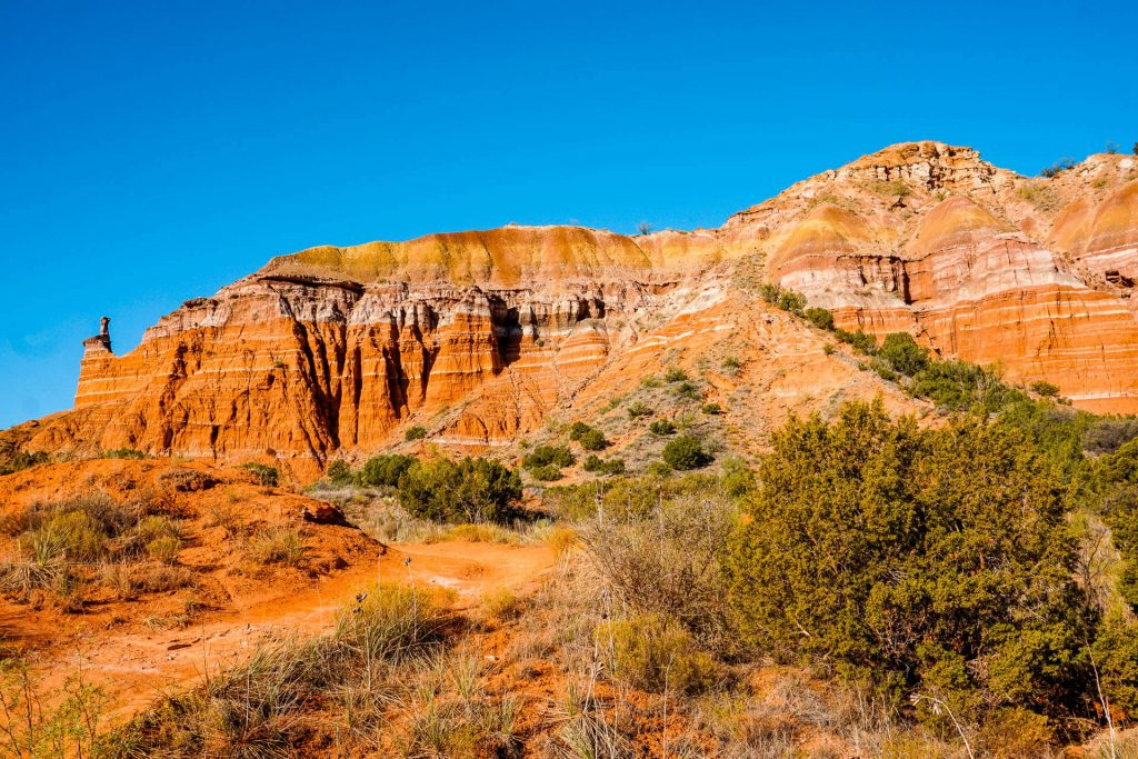 Beautiful orange rock formations at Palo Duro Canyon State Park