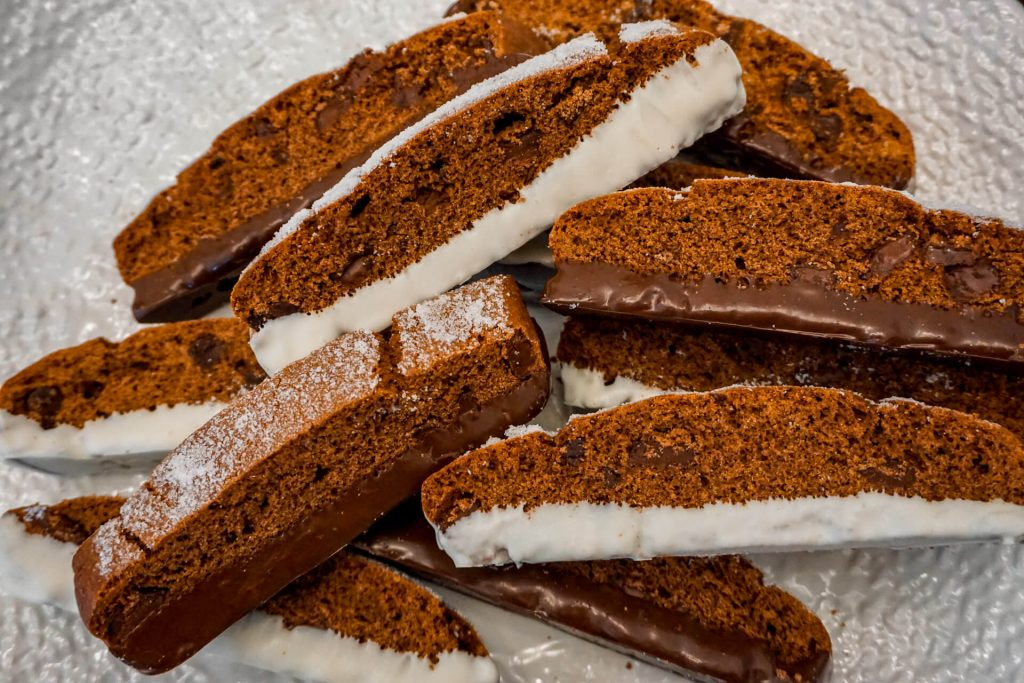 Triple Chocolate Biscotti dipped in dark and white chocolate.