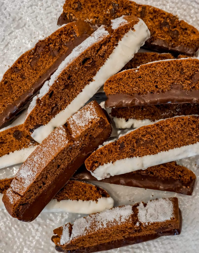Chocolate Italian biscotti dipped in dark and white chocolate.